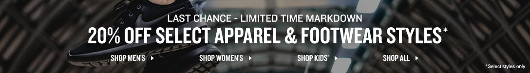 20% Off Select Apparel & Footwear Styles*