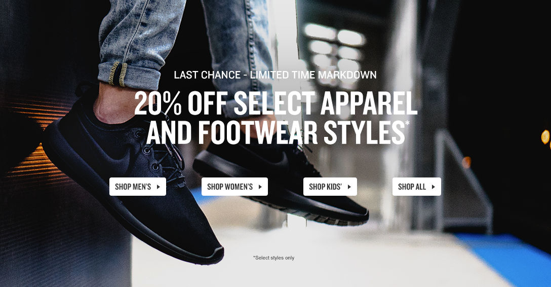 20% Off Select Apparel & Footwear Styles. Shop Now.