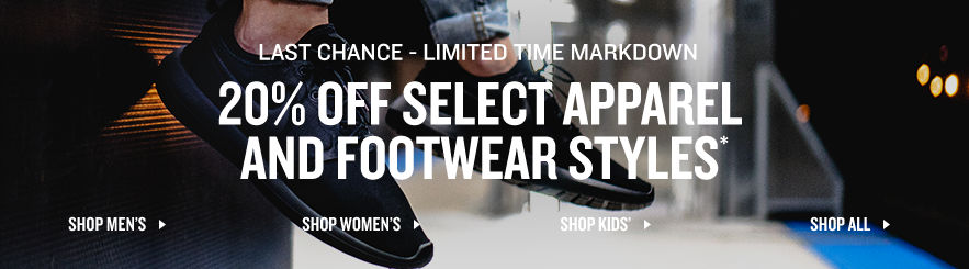 20% Off Select Apparel & Footwear Styles*. Shop Now.