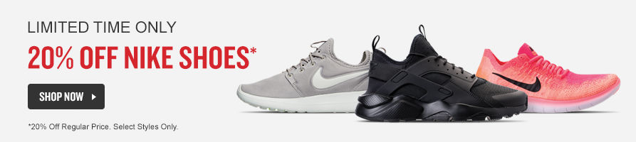 Nike Shoes. 20% Off Regular Price. Shop Now.