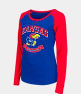 Women's Stadium Kansas Jayhawks College Long-Sleeve Healy Raglan T-Shirt