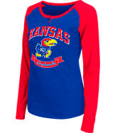 Women's Stadium Kansas Jayhawks College Long-Sleeve Healy Raglan T-Shirt