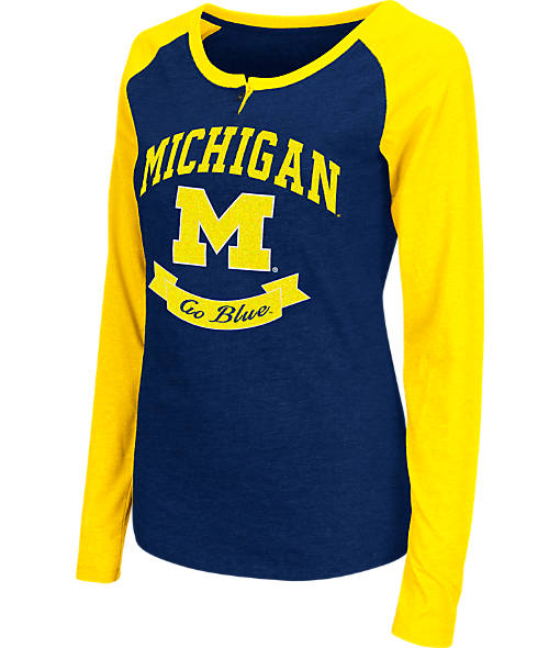 Women's Stadium Michigan Wolverines College Long-Sleeve Healy Raglan T-Shirt