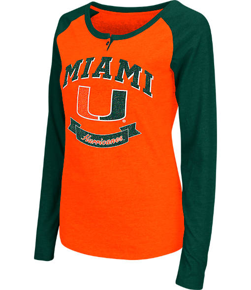 Women's Stadium Miami Hurricanes College Long-Sleeve Healy Raglan T-Shirt