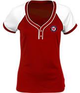 Women's Antigua Washington Nationals MLB Two-Button Henley Shirt