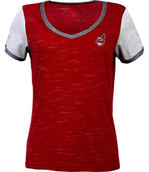 Women's Antigua Cleveland Indians MLB Rival V-Neck T-Shirt