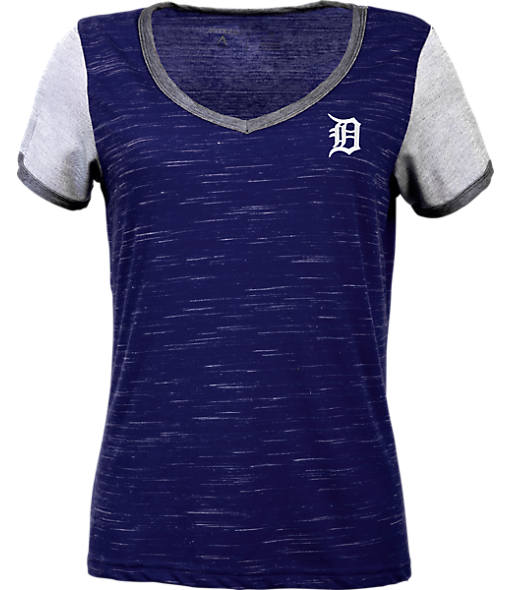 Women's Antigua Detroit Tigers LB Rival V-Neck T-Shirt