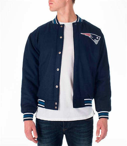 Men's JH Design New England Patriots NFL Reversible Wool Jacket