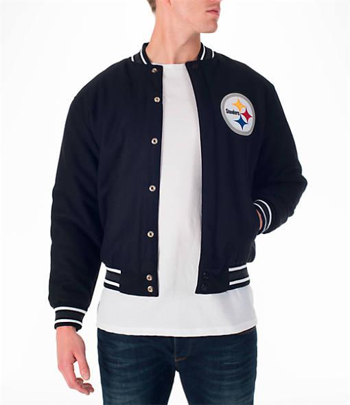Men's JH Design Pittsburgh Steelers NFL Reversible Wool Jacket