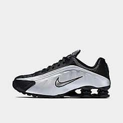 나이키 맨 Mens Nike Shox R4 Casual Shoes,Black/Black/Metallic Silver/Bright Crimson