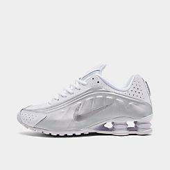 나이키 맨 Mens Nike Shox R4 Casual Shoes,White/White/Metallic Silver/Bright Crimson