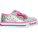 Right view of Girls' Toddler Skechers Twinkle Toes: Shuffles - Starlight Style Casual Shoes in Silver/Pink