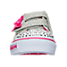 Front view of Girls' Toddler Skechers Twinkle Toes: Shuffles - Starlight Style Casual Shoes in Silver/Pink