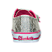Back view of Girls' Toddler Skechers Twinkle Toes: Shuffles - Starlight Style Casual Shoes in Silver/Pink