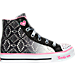 Right view of Girls' Preschool Skechers Shuffles Magic Madness Casual Shoes in Black/Pink/Silver Ombre
