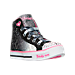 Three Quarter view of Girls' Preschool Skechers Shuffles Magic Madness Casual Shoes in Black/Pink/Silver Ombre