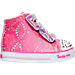 Right view of Girls' Toddler Skechers Twinkle Toes: Shuffles - High Top Casual Shoes in Hot Pink Ombre