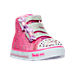 Three Quarter view of Girls' Toddler Skechers Twinkle Toes: Shuffles - High Top Casual Shoes in Hot Pink Ombre