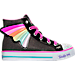 Right view of Girls' Preschool Skechers Twinkle Toes: Shuffles - Wander Wings High Top Light-Up Casual Shoes in Black/Multi-Winged