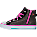 Left view of Girls' Preschool Skechers Twinkle Toes: Shuffles - Wander Wings High Top Light-Up Casual Shoes in Black/Multi-Winged