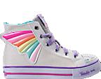 Girls' Preschool Skechers Twinkle Toes: Shuffles - Wander Wings High Top Light-Up Casual Shoes