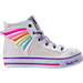 Right view of Girls' Preschool Skechers Twinkle Toes: Shuffles - Wander Wings High Top Light-Up Casual Shoes in White/Multi Winged