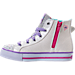 Left view of Girls' Preschool Skechers Twinkle Toes: Shuffles - Wander Wings High Top Light-Up Casual Shoes in White/Multi Winged