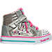 Right view of Girls' Toddler Skechers Twinkle Toes: Sparkle Glitz Casual Shoes in Silver/Pink