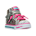 Three Quarter view of Girls' Toddler Skechers Twinkle Toes: Sparkle Glitz Casual Shoes in Silver/Pink