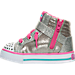 Left view of Girls' Toddler Skechers Twinkle Toes: Sparkle Glitz Casual Shoes in Silver/Pink