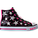 Right view of Girls' Preschool Skechers Twinkle Toes: Shuffles - Rockin' Stars Light-Up Casual Shoes in Black/Pink