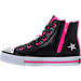 Left view of Girls' Preschool Skechers Twinkle Toes: Shuffles - Rockin' Stars Light-Up Casual Shoes in Black/Pink