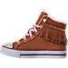Left view of Girls' Preschool Skechers Twinkle Toes: Shuffles - Fringe Fabulous Casual Shoes in Chestnut
