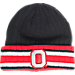 Front view of J. America Ohio State University College Flipped Ribbed Cuff Knit Hat in Black/Red/Grey