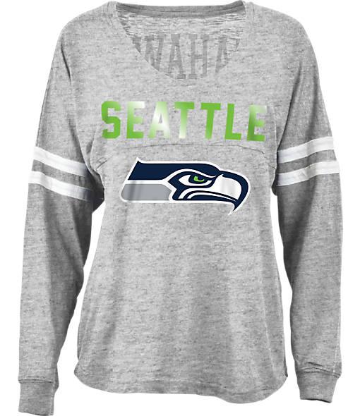 Women's New Era Seattle Seahawks NFL Slub V-Neck T-Shirt