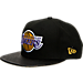 Front view of New Era Los Angeles Lakers NBA Pattern Perforated Snapback Hat in Team Colors