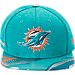 Front view of New Era Miami Dolphins NFL 9FIFTY 2017 Draft Snapback Hat in Aqua