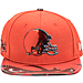 Front view of New Era Cleveland Browns NFL 9FIFTY 2017 Draft Snapback Hat in Brown