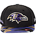 Front view of New Era Baltimore Ravens NFL 9FIFTY 2017 Draft Snapback Hat in Black
