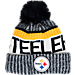 Front view of New Era Pittsburgh Steelers NFL Sideline Knit Hat in Team Colors