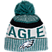 Front view of New Era Philadelphia Eagles NFL Sideline Knit Hat in Team Colors
