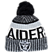 Front view of New Era Oakland Raiders NFL Sideline Knit Hat in Team Colors