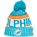 Front view of New Era Miami Dolphins NFL Sideline Knit Hat in Team Colors