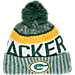 Front view of New Era Green Bay Packers NFL Sideline Knit Hat in Team Colors