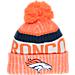 Front view of New Era Denver Broncos NFL Sideline Knit Hat in Team Colors