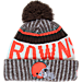 Front view of New Era Cleveland Browns NFL Sideline Knit Hat in Team Colors