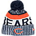 Front view of New Era Chicago Bears NFL Sideline Knit Hat in Team Colors