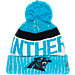 Front view of New Era Carolina Panthers NFL Sideline Knit Hat in Team Colors