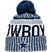 Front view of New Era Dallas Cowboys NFL Sideline Knit Hat in Team Colors