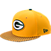 Front view of New Era Green Bay Packers NFL Sideline 9FIFTY Snapback Hat in Team Colors